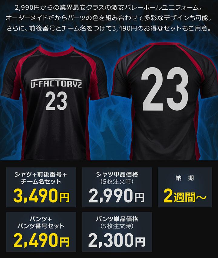 2,490円からはじめる業界最安クラスの激安バレーボールユニフォーム。オーダーメイドだからパーツの色を組み合わせて多彩なデザインも可能。さらに、前後番号とチーム名をつけて2,990円のセットもご用意。